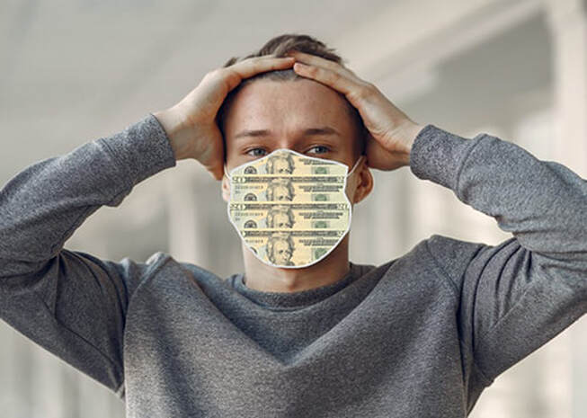 Face mask made of money
